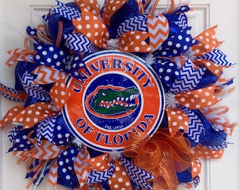 University of Florida Gators Deco Mesh Wreath, Collegiate Decor, Football Wreath, Sports Wreath, UF Gators
