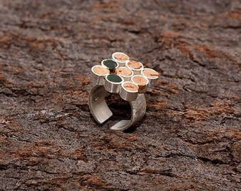 "Silver and Cork Ring ""Cellar"" - Handmade Jewelry - FREE SHIPPING"