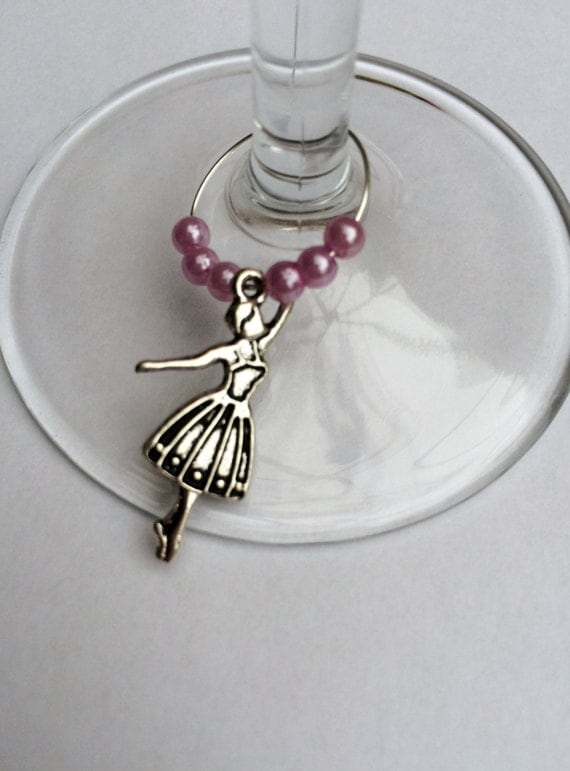 wine or cocktail glass charms silver by lollyshandmadecrafts