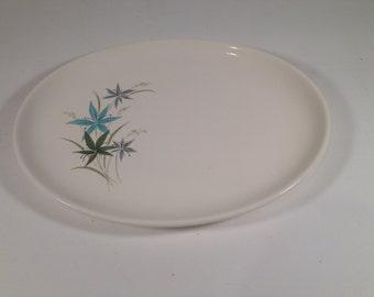 Vintage Serving Platter Turquoise & Green Flowers