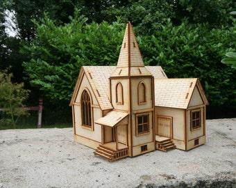 Laser cut American Style Church 3mm Ply wood kit