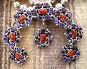 Vintage Native American Navajo 5pc Coral & Amethyst Squashblossom Necklace Set -Item # 462B