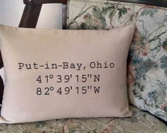 Latitude Longitude Put-in-Bay Pillow Embroidered