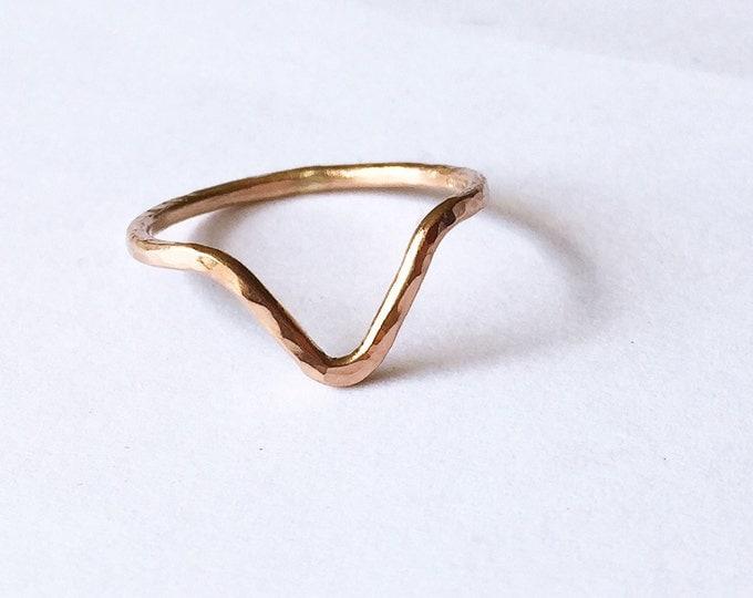 Rose Gold Triangle Ring - V Shape Ring