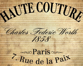 INSTANT DOWNLOAD - Vintage French Haute Couture Advert - Image Print Transfer #6