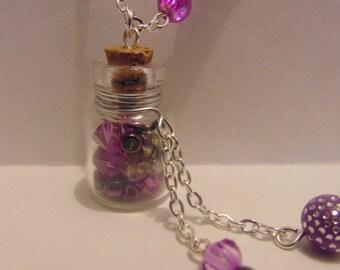 Purple Silver Tone Bottle Necklace