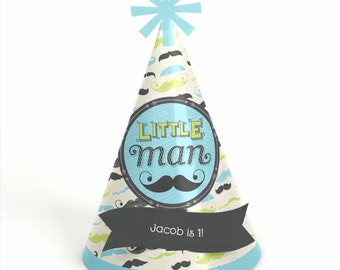 8 Dashing Little Man Mustache Party - Birthday Party Hats - Personalized Boy Birthday Party Supplies - Set of 8