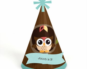 8 Owl Birthday Party Hats - Personalized Birthday Party Supplies - Set of 8