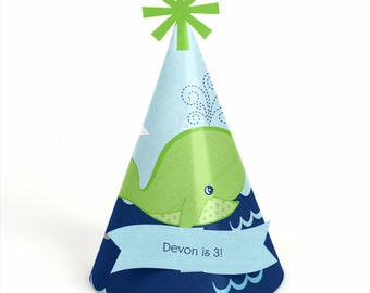 8 Tale of a Whale Party Hats - Personalized Birthday Party Supplies - Set of 8
