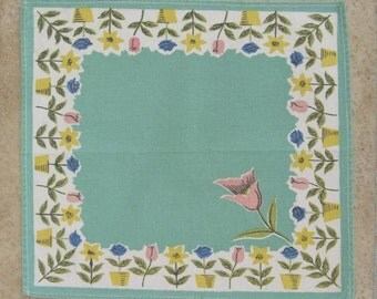 SWEDISH TABLECLOTH / Cloth / Sweden / Swedish / Cotton / Retro / 60s / Floral / Turquoise / Tablet