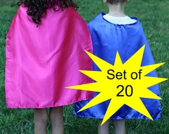 SUPER HERO CAPES - Set of 20 Super Hero Capes - Plain Super Hero Capes - Bulk Superhero Capes - Wholesale Super Hero Capes