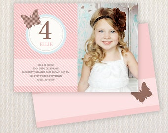 INSTANT DOWNLOAD: Birthday invitation Template - Vintage Butterfly