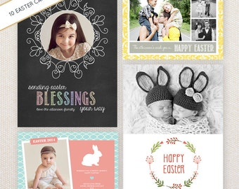 INSTANT DOWNLOAD: 10 PSD Easter Photo Card Templates. Mini Pack 28.