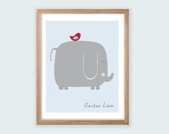 Printable Personalized Nursery Wall Art. Elephant & Bird. Boy or Girl Styles