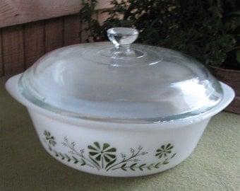 Glasbake Casserole Dish, Green Daisy Design, Jeannette Glass Ovenware