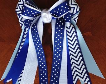 Hair Bows for Horse Shows/Blue Chevron/equestrian clothing, hair accessory