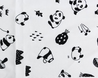 Cute Simple Panda Pattern Cotton Fabric by Yard
