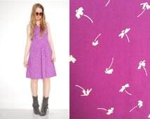 vintage 70s dress purple dandelion blossom print cotton hippie midi sun dress 1970s 70s clothing M