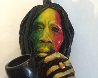 Tobacco Hand Made Pipe, Rasta Color Face Bob Design