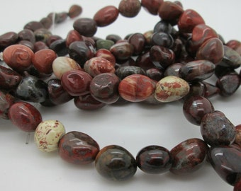Red Jasper Nugget Beads, Rustic Stone Beads, 10-15 to 8-11mm, 16 inch strand
