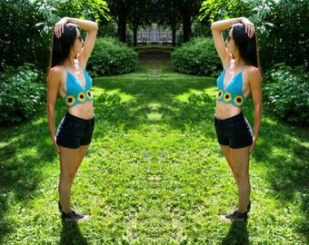 Sunflower Crochet Top Crop Top (1 A/B cup in stock ships next day)