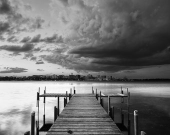 Storm over Lake Monona - Madison, Wisconsin - Black and White Wall Art Print