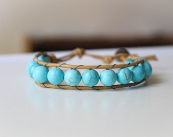 Turquoise Howlite Beaded Leather Single Wrap Bracelet