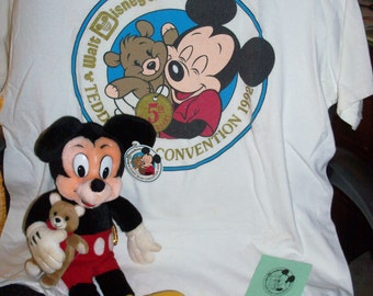 Vintage RARE 1992 Disney 5th Anniversary Walt Disney World Teddy Bear & Doll Convention GUND Mickey Mouse  Doll, T-Shirt, Pin and Brochure