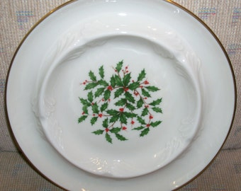 Vintage Lenox Holiday Fine China (Dimension shape) Gold Large Ashtray- Holly and Berries Design