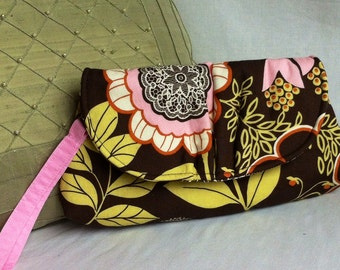 wristlet purse clutch flower design with wrist and body strap