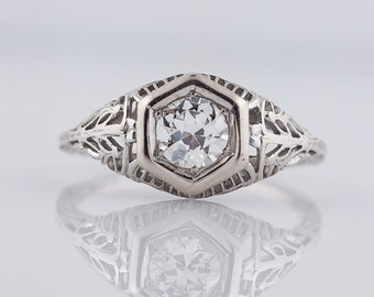 Antique Engagement Ring Art Deco .60ct Old European Cut Diamond in 18k White Gold