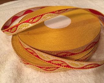 Vintage Metallic Jacquard Ribbon, Sold by the Yard. Made in France. Metallic Ribbon, Metallic Trims. Brocade Ribbons