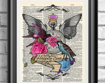 Tattoo print, Happily ever quote, Blue and Pink bird Wall decor, Dictionary book page art, Original illustration, Gothic Print, Crown roses