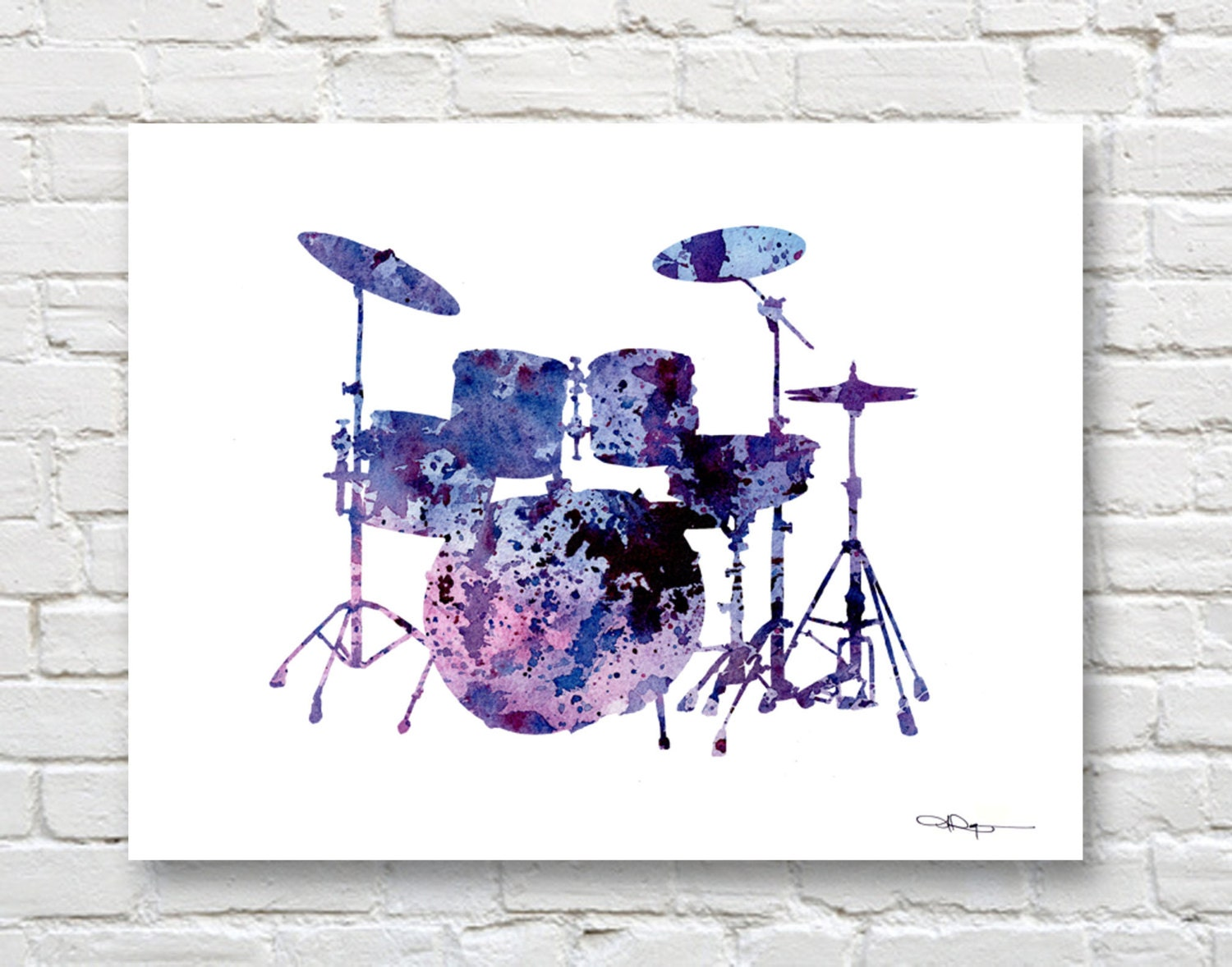 Drum Set Wall Decor : Drums art print abstract watercolor painting drum set