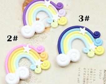 Swirly Pastel Stars Rainbow Kawaii Cabochon Decoden -5pcs