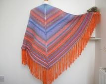 Multi-coloured shawl, knitted shawl, colourful wrap, triangular shawl, pastel colour shawl, festival shawl, orange wrap, ooak women's shawl.