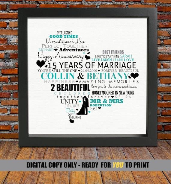 ... gift, 15th wedding anniversary, 15th anniversary gift,15 years