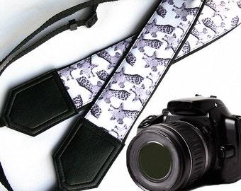 Giraffe camera strap. Black and white Camera strap. DSLR / SLR Camera Strap. Photographer accessory by InTePro