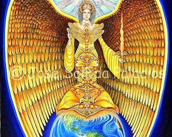 Archangel Uriel 11x14 print on canvas by Jose SolEda