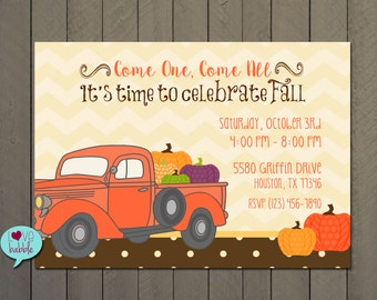 Fall Harvest Festival Carnival, Little Pumpkin Baby Shower, Pumpkin Bridal Shower Invitation - PRINTABLE DIGITAL FILE - 5x7