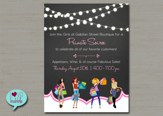shopping flyer home shopping party jewelry boutique nail, Party invitations