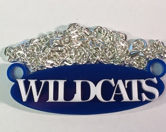 Wildcats School Spirit Mascot Necklace with Silver Plated Chain and Choice of Colors
