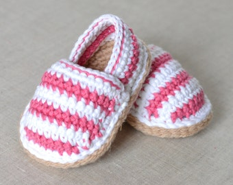 CROCHET PATTERN Baby Espadrilles 3 sizes Instructions with American AND uk crochet terms Written inEnglish only photo Tutorial instant downl