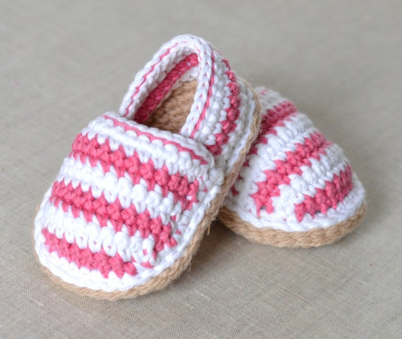 CROCHET PATTERN Baby Shoes Stripy Espadrilles in by ...