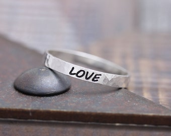 925 sterling silver hammered love band ring (WPR_00011)
