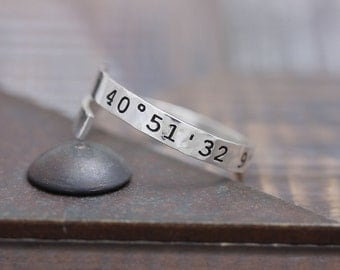 personalized coordinates 925 sterling silver hammered adjustable ring (PR_00016)