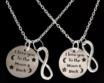 Best Friend Gift, I Love You To The Moon And Back Necklace, 2 Necklaces, Mother Daughter, Sisters Best Friend Necklace Set