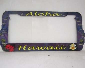 Hawaiian Island Aloha design license plate frame