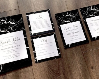 Custom Printable Wedding Stationary Set - Black Marble Design