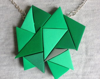Green and grey triangle polymer clay statement necklace